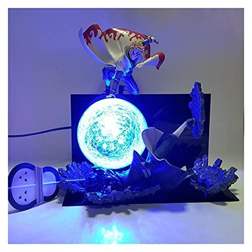 MOLUO Lámpara luz Nocturna niños Figura de acción Minato vs Obito Rasengan Escena DIY LED Luz de Noche Figurilla Naruto Shippuden Uchiha Obito Niños Regalo
