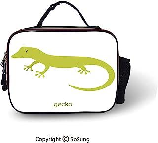 Reptiles Leakproof Reusable Insulated Cooler Lunch Bag Cute Australian Lizard Illustration Smiling Kids Mascot Safari Theme Symbol Home Picnic Hiking Beach Lunch bag,10.6x8.3x3.5 inch,Pistachio White