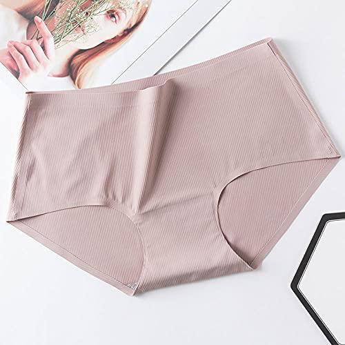 Fuduoduo Costuras Invisible SeñOras Braguitas,Braguitas de Seda Helada sin Rastro de Cintura Media para Mujer 4PCS-Nude Powder_M (40-50) kg,Bragas de Cintura Alta Controlar