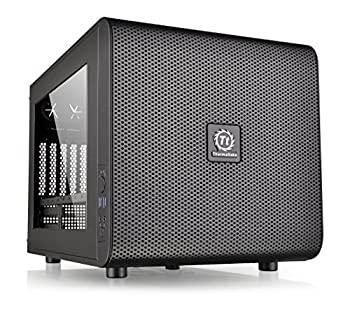 Thermaltake Core V21 SPCC Micro ATX Mini ITX Cube Gaming Computer Case Chassis Small Form Factor Builds 200mm Front Fan Pre-installed CA-1D5-00S1WN-00 Black