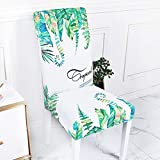 Viburnum Leaf 4 Pack poang Chair Cover Removable Washable Short Dining Chair for Home, Restaurant, Party Green and White