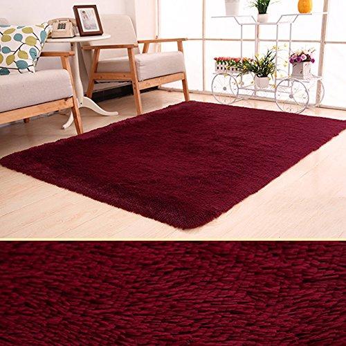 Super Soft modernen Shag Wohnzimmer Teppiche flauschig ein Teppich behaglichen Schlafzimmer Home Dekorieren Boden Kids Spielmatte, weinrot, 120x160cm