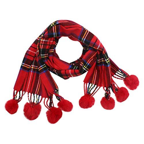 Kids Teens Cashmere Winter Scarf Plaid Shawl Wrap Soft Warm Scarves for Boys Girls