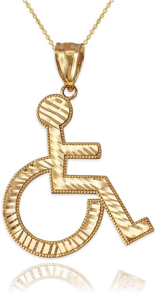 LA BLINGZ 14K Yellow Gold Handicap Wheelchair Sign DC Pendant Necklace