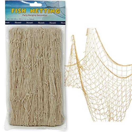 Netting Decoration, Fish Net Party Decor  Natural Color Cotton Netting 48 x 144 Inches. Fishnet for Nautical Theme, Pirate Party, Hawaiian Party, Underwater, Beach, Ocean & Mermaid Party.