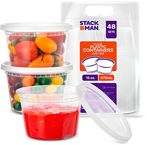 Stack Man [48 Pack, 16 oz] Plastic Deli Food Storage Soup Containers With Airtight Lids, Freezer Safe | Meal Prep | Stackable | Leakproof | BPA Free, Clear