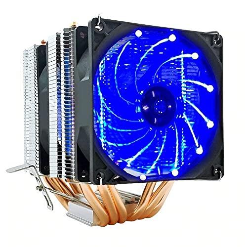 Warmdeco Enfriador de CPU Snowman, 6 Tubos de Calor, 4 Pines, PWM, RGB, Ordenador silencioso, Ventilador de refrigeración de Aluminio para CPU, disipador de Calor para Intel AMD AM3 AM4