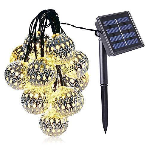 UTDKLPBXAQ Lámpara de Luces de Cadena para Exteriores, luz de Hadas de Globo de 10 LED con energía Solar a Prueba de Agua para Luces Colgantes de jardín y Patio, Luces Decorativas para Porche de BIST