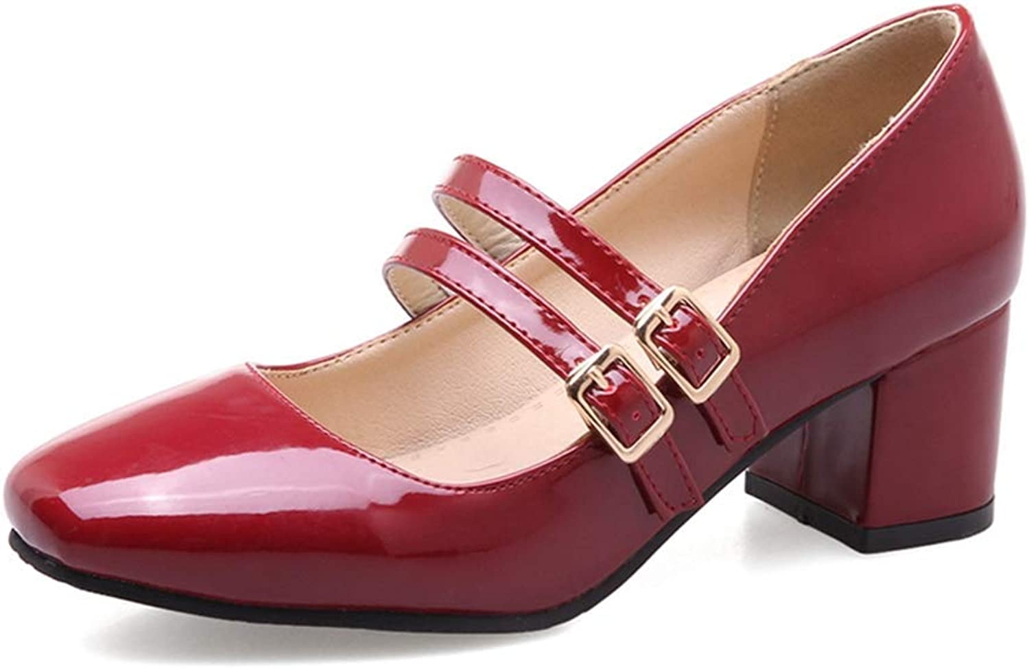 Elsa Wilcox Women Square Toe Buckle Strap Patent Leather Chunky Mid Heel Retro Dress shoes Womens Mary Jane Oxford Pump