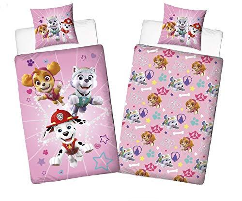 Character World Juego de cama para niña de la Patrulla Canina, 135 x 200 cm, 80 x 80 cm, 100% algodón, Burst, color rosa, estrellas Sky-e