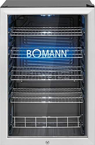 Bomann KSG 7284 Réfrigérateur porte en verre Capacité 115 l Porte appareil, éclairage intérieur LED et logo Bomann gravé avec éclairage LED bleu, noir