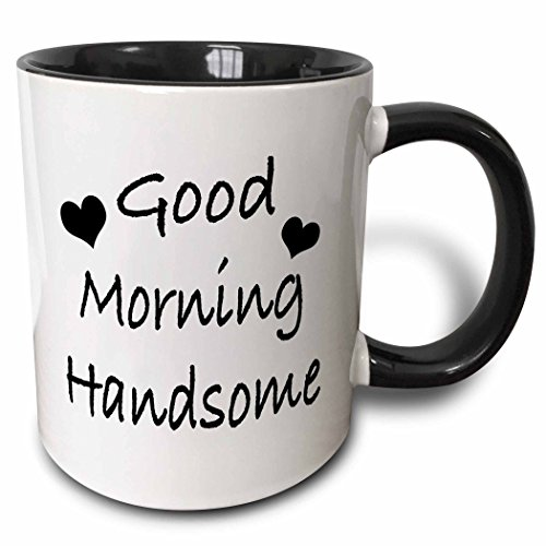 3dRose 203258_4 Saying-Good Morning Handsome Two Tone Black Mug, 11 oz