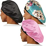 3 Pcs Satin Bonnet, Soft Bonnets for Black Women Hair Bonnet Hair Cover, Sliky Bonnet Luxurious Fabric Premium Elastic Wide Band for Women Haircare Hair Loss(Normal Size, 3 Pcs-Black+Pink+Flower D)