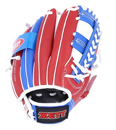 【Amazon.co.jp 限定】 ゼット(ZETT) 少年野球 軟式 野球グローブ オールラウンド 初心者用 衝撃吸収パッド付き 9インチ(幼児~小学校低学年向け) 右投用 レッド×ブルー BDG2202A グラブ