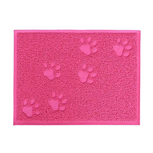 Pet Cat Litter Mat Waterproof Kitten Pet Dish Bowl Food Water Placemat 30 x 40cm (Rose Red)