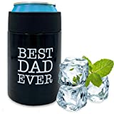Beer Coozies for Cans - Best Dad Ever Beer Can Insulator | 12 oz Metal Can Coozie Insulated Can Cooler, Stainless Steel Drink Thermos Holder | Beverage Rambler Coolers, Fathers Day Coozy Gift Cozy