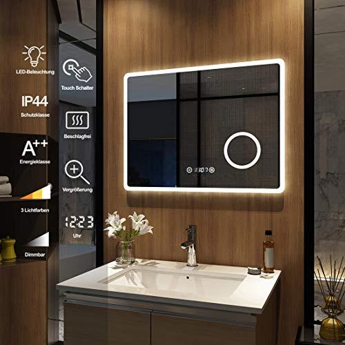 Meykoers Wandspiegel Badezimmerspiegel LED Badspiegel mit Beleuchtung 80x60cm Spiegel mit Vergrößerung, Touch-Schalter, Uhr, Beschlagfrei, Lichtspiegel Dimmbar Warmweiß/Kaltweiß/Neutral 3000K-6400K