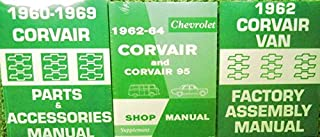 3pc SET 1962 1963 1964 CORVAIR REPAIR SHOP & SERVICE MANUAL, 1962 ASSEMBLY MANUAL & 1960 - 1969 FACTORY PARTS & ACCESSORIES MANUAL