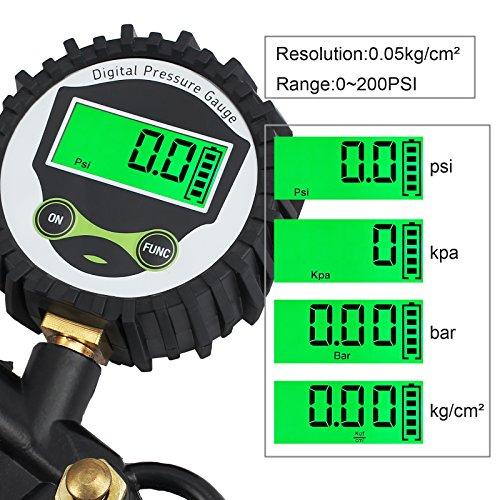 COLFULINE Digital Reifenfüllpistole Reifendruckprüfer Luftdruckprüfer Druckluft Reifenfüller Manometer LCD 0-14BAR