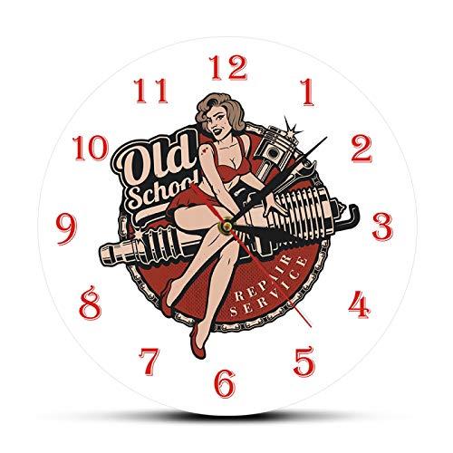 xinxin Reloj de Pared Garaje Personalizado Retro Old School Servicio de reparación de automóviles Reloj de Pared Mecánico Hombre Cueva Reloj Bujía Pin Up Girl Reloj de Pared