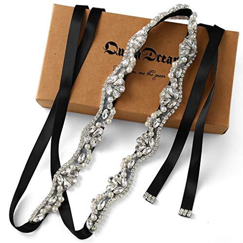 Cinture da sposa in strass di cristallo fatto a mano con nastri per abito da sposa argento-nero