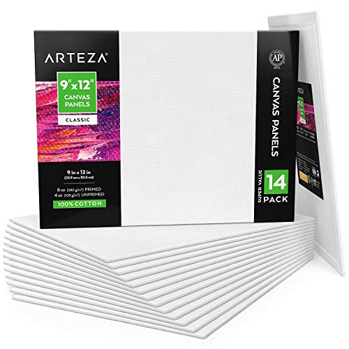 """Arteza 9x12"""" White Blank Canvas Panel Boards, Bulk Pack of 14, Primed, 100% Cotton for Acrylic Painting, Oil Paint & Wet Art Media, Canvases for Professional Artist, Hobby Painters & Beginners"""