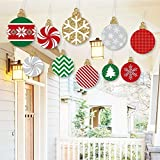 Big Dot of Happiness Hanging Ornaments - Outdoor Holiday and Christmas Hanging Porch & Tree Yard Decorations - 10 Pieces