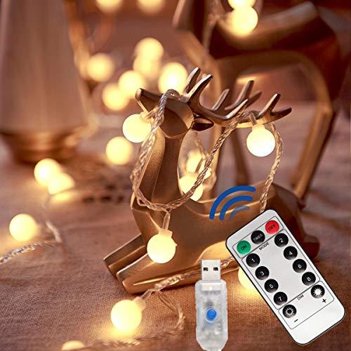 Lepore Lichterkette mit USB-Globus, 6 m, 40 LEDs, 8 Modi, Fernbedienung, Außenbeleuchtung für Weihnachtsbaum, Urlaub, Zimmer, Terrasse, Pavillon und Hochzeitsdekoration (warmweiß)