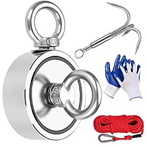 EVISWIY 1700LBS Fishing Magnets with Rope Carabiner Grappling Hook Glove Large Strong Heavy Duty Rare Earth Neodymium N52 Double Sided Magnets for Magnet Fishing Treasure Hunting Underwater Retrieving