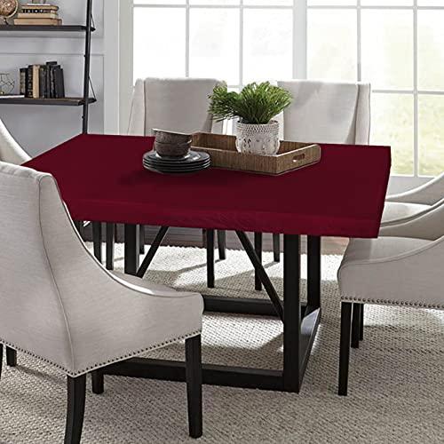 LUSHVIDA Square Waterproof Table Cover Elastic Tablecloth Vinyl Fitted Table Cover Elastic Edged Plastic Table Cover Fits Tables up to 46' 46' Red
