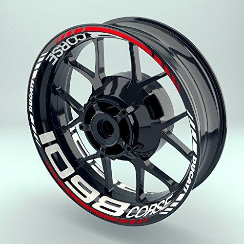 Felgenaufkleber Set Ducati 1098corse für Motorrad | 17 Zoll | Felgenrandaufkleber & Felgenbettaufkleber | Vorder- & Hinterreifen Komplett-Set (Doppelt - matt)