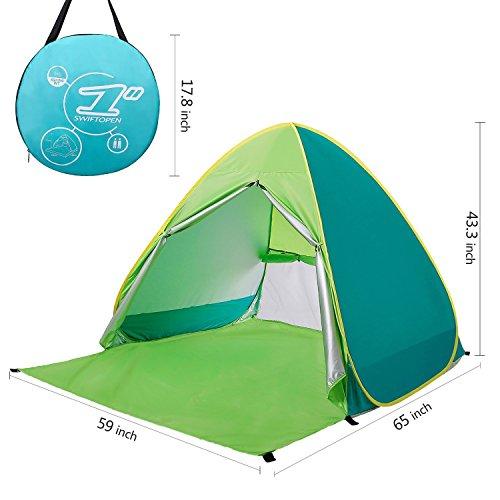 Kingkindsun Nieuw Met Rits Deur Pop Up Draagbare Strand Tent Outdoor Anti UV Strandschaduw Tent Zonwering, Automatische Instant Familie Cabana voor Camping Strand Vissen Tuin (Mix- Groen)