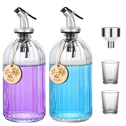 Aozita Clear Glass Mouthwash Dispenser - Refillable Glass Bottle with Pour Spout, Shot Glass, Funnel and Labels, Stylish Bathroom Dispenser With Blank Wooden Tag - 2 Pack