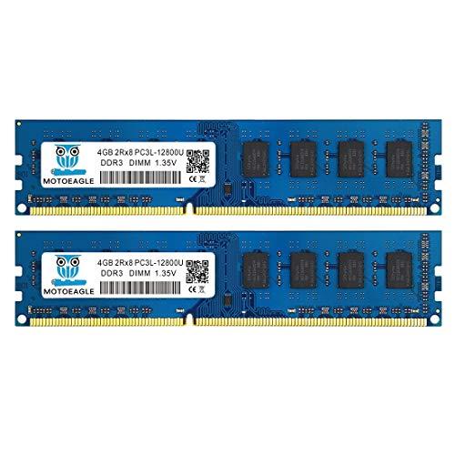 DDR3L-1600 UDIMM 8GB Kit (2x4GB) PC3L 12800 4GB Unbuffered Non-ECC 1.35V CL11 2Rx8 PC3L 12800U DDR3L 1600MHz Dual Rank 240-Pin Desktop Arbeitsspeicher