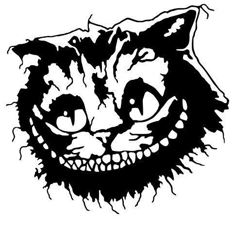 LGLGXR Pegatinas de automóviles Cheshire Cat Fashion PVC Decoración de automóviles Accesorios Calcomanías Creativo Impermeable Protector Solar Negro/Blanco, 15 cm X 14cm (Color Name : Black)