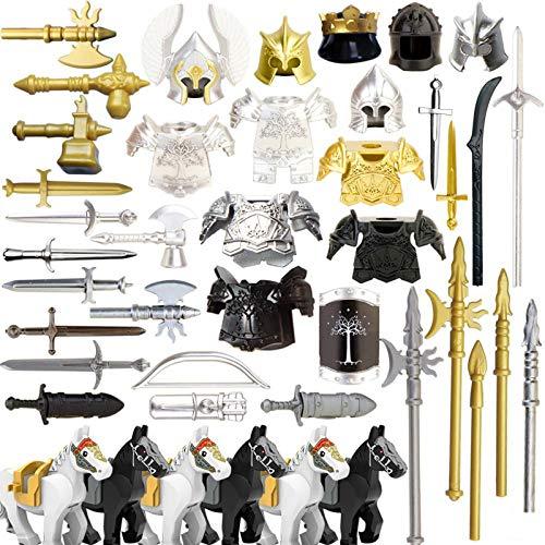 LICI Militari Arma Set,49 Pezzi Medioevo Soldato Armatura Casco Set,Cavaliere Spada Accessori Set,Compatibili con Lego