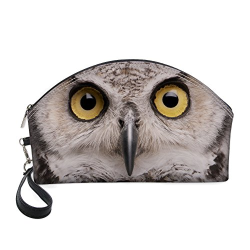Nopersonality Modèle Animal Sac de maquillage Sac à main Wristlet kit de voyage Organiseur d'embrayage chouette