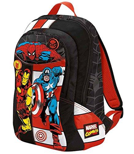 Marvel Comics Zaino Superstar con Grafiche e Stampe Personalizzate Zainetto per bambini, Poliestere, Nero, 46 cm