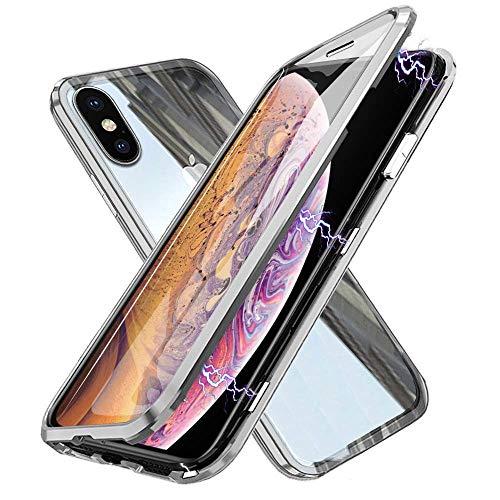 Funda para iPhone X/XS Magnetica Adsorption Carcasa 360 Grados Frente y Parte Posterior Cuerpo Completo Transparente Vidrio Templado Protección Metal Choque Cover Case - Plata