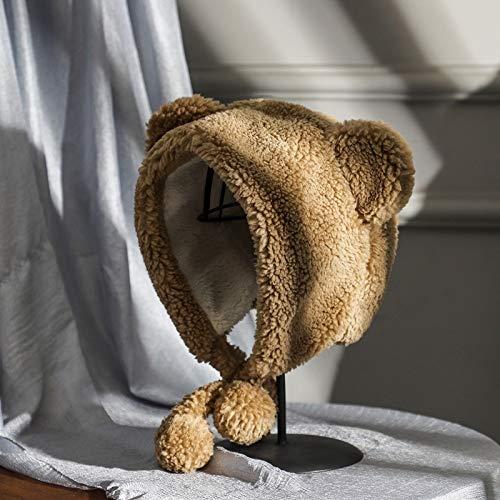 ghn Bonnet d'hiver en tricot pour femme 2020 - Bonnet chaud avec oreilles d'ours mignonnes - Coupe-vent - Pour étudiants et femmes - En laine - Chapeau tendance pour couple - Couleur : kaki
