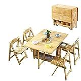 PULLEY 1.3M Juego de Mesa Plegable Gota de la Mariposa de la Hoja sólida Mobiliario de Cocina de Madera de Pino Natural de 5 Piezas de Comedor de 4 sillas