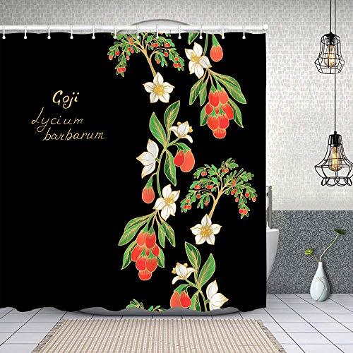Yoliveya Cortina Ducha Impermeable,patrón de Borde de Vector Transparente Frutas de Goji,Impresión de Cortinas baño con 12 Ganchos 180x180cm