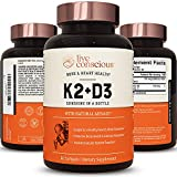 Live Conscious Vitamin K2 MK7 with D3 Supplement by LiveWell | Bone & Heart Health Support - Patented Vitamin K & Vitamin D3 5000 IU - 60 Softgels