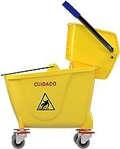 Cubeta con exprimidor de 32 litros, Color amarillo, 4 llantas y de alta durabilidad, Con separador de agua limpia.