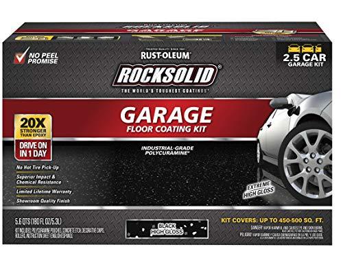 Rust-Oleum 318697 Rocksolid Polycuramine Garage Floor Coating, 2.5 Car Kit, Black