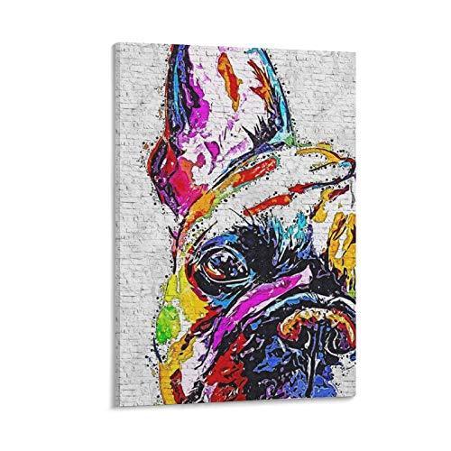 12 pósteres de Bulldog francés, pintura decorativa en lienzo para pared, para sala de estar, dormitorio, 60 x 90 cm