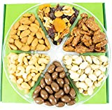 Nut Gift Tray & Basket for Holidays, Christmas by Coco's. Food Gift has 2 Lbs Delicious California Almonds, Buttery Cashews, Pistachios, Mixed Nuts, Chocolate Almond, Walnuts, Pecan. Freshly Roasted.