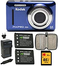 $119 » KODAK PIXPRO Friendly Zoom FZ53 Digital Camera with 2.7-Inch LCD (Blue) with Knox Gear Hardshell Travel Case, 16GB SD Card...