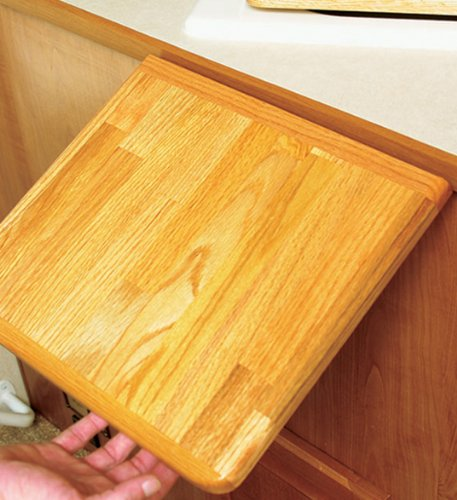 """Camco Oak Accents RV Counter Top Extension - Securely Mounts to Your Existing Counter Top With a Metal Piano Hinge for Additional 12"""" of Counter Space (43421)"""