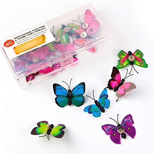 Yalis Decorative Thumb Tacks 12 Pcs Colorful Cute Pushpins for Feature Wall, Whiteboard, Corkboard, Photo Wall (Butterfly)